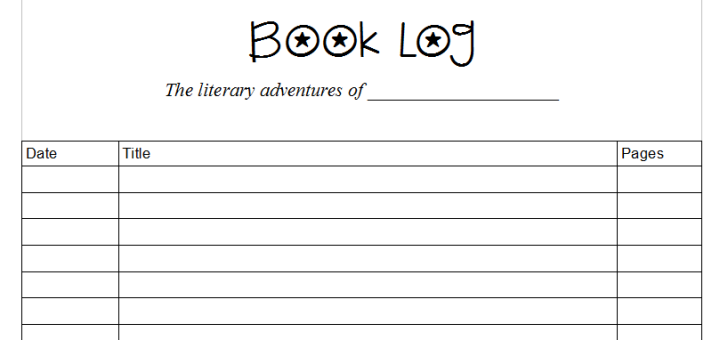 homeschool book log printable pages