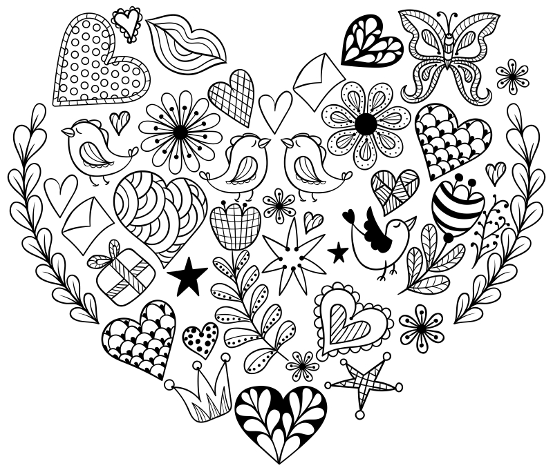 free secular coloring pages for valentine's day