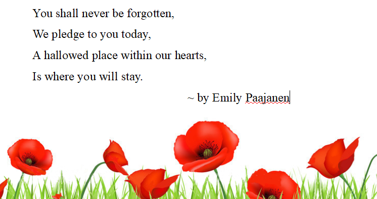 Remembrance day cursive practice pages