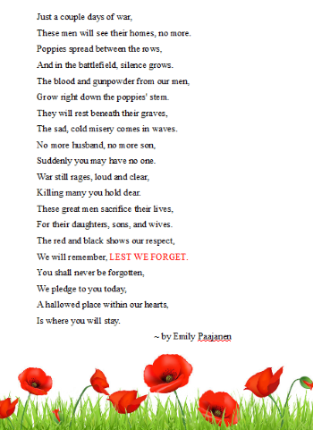 Remembrance Day Writing Skip The School